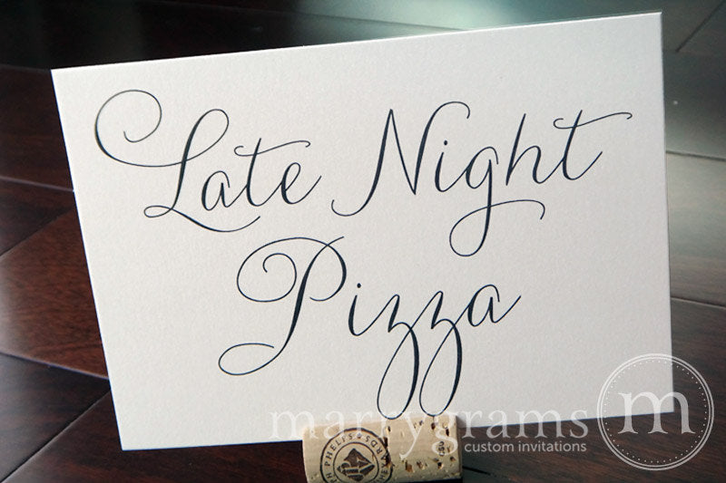 Late Night Pizza Wedding Reception Sign Thin Style