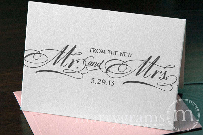 From The New Mr. & Mrs. Custom Thank You Card Calligraphy Style