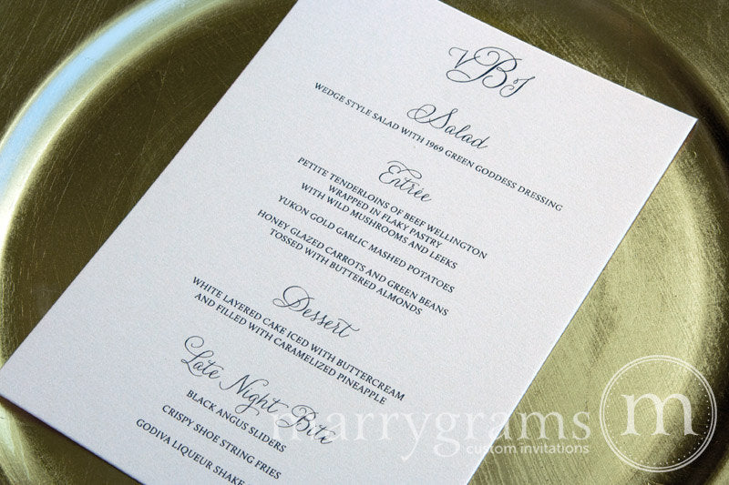 Custom Wedding Reception Menu Thin Style