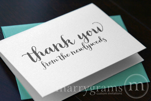 Thank You From The Newlyweds Wedding Card Thick Style