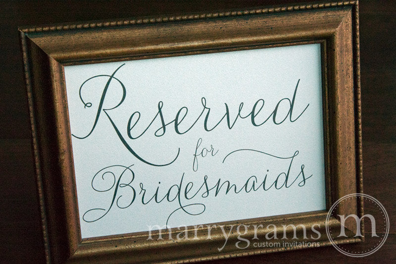 Reserved for Bridesmaids and Groomsmen Signs Thin Style
