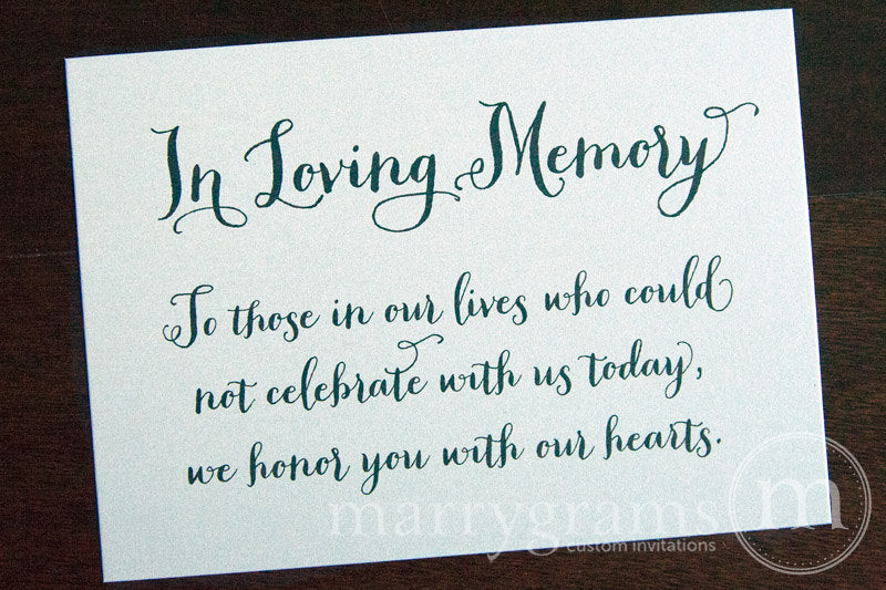 In Loving Memory Wedding Memorial Sign Thick Style