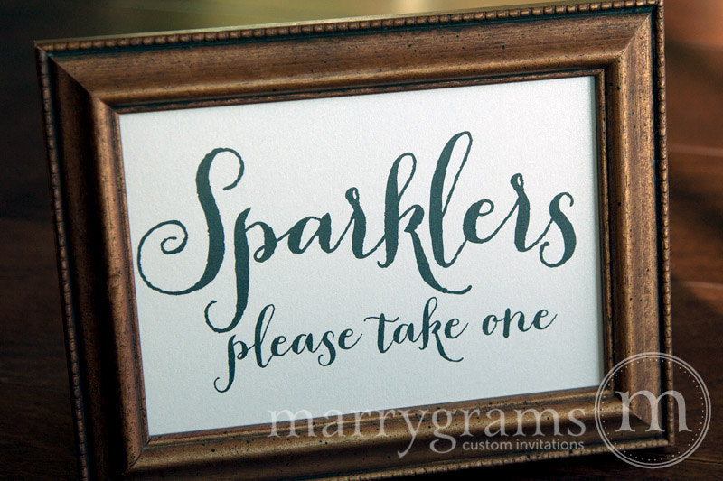 Wedding Sparklers Send Off Sign Thick Style