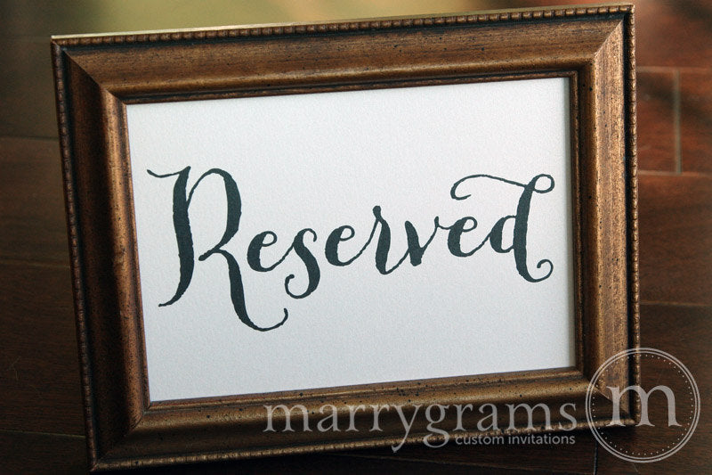 Reserved Wedding Table Seating Sign Thick Style