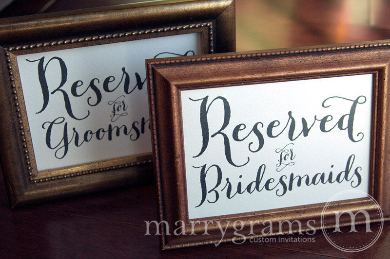 Reserved for Bridesmaids and Groomsmen Signs Thick Style