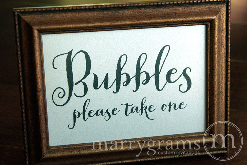 Wedding Bubbles Send Off Sign Thick Style