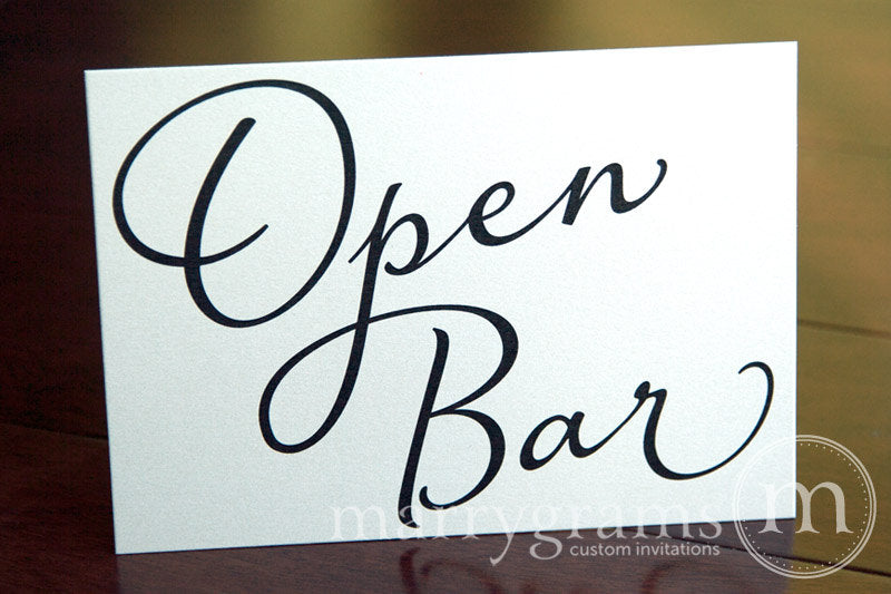 Open Bar Wedding Reception Sign Diagonal Style