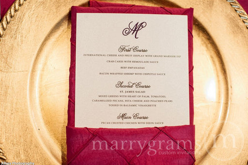 Custom Wedding Reception Menu Curly Style