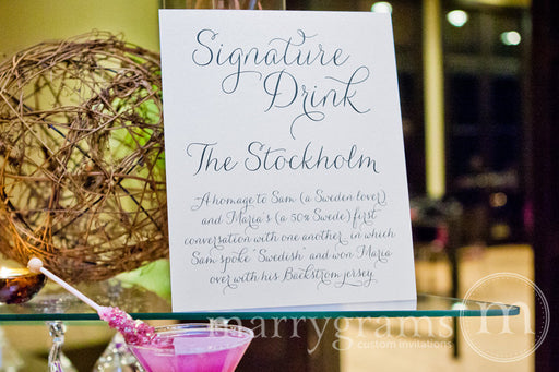 Signature Drink Custom Wedding Bar Sign Thin Style