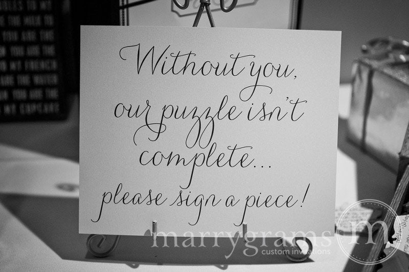 Please Sign a Piece Puzzle Guest Book Sign Thin Style