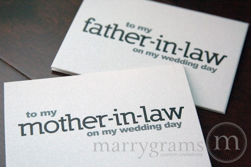 To My Family mother and father in law Wedding Day Card Block Style
