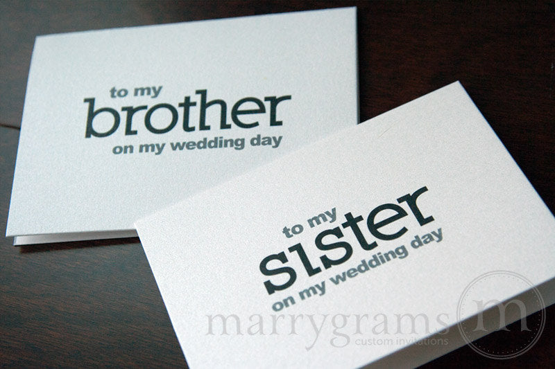 To My Family brother and sister Wedding Day Card Block Style