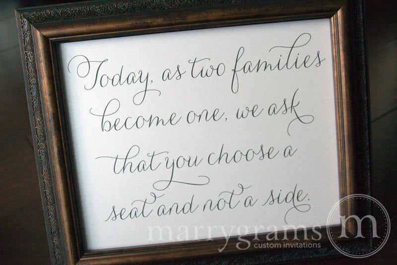 As Two Families Become One Seating Sign Thin Style Classic Wedding