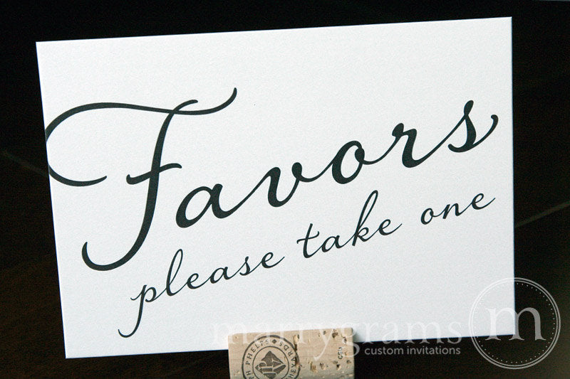 Wedding Favors Sign Diagonal Style