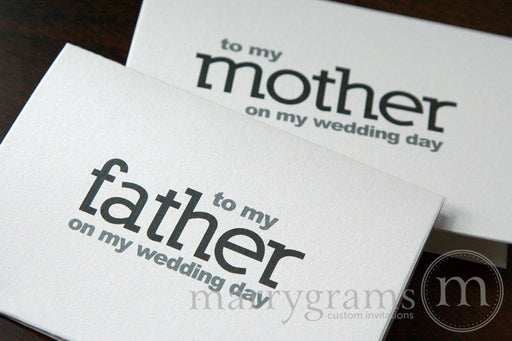To My Family mother and father Wedding Day Card Block Style