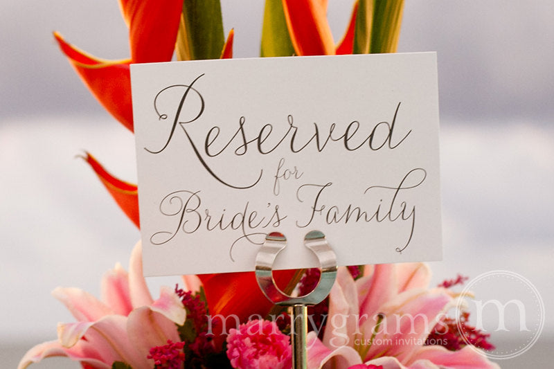 Reserved for Bride's and Groom's Family Signs Thin Style