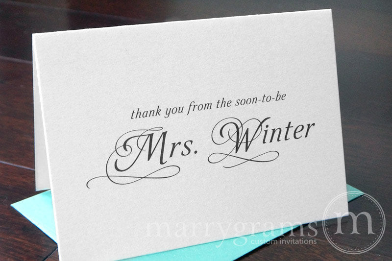 Thank You From The Soon-To-Be Mrs. Custom Bridal Shower Card