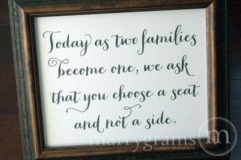 As Two Families Become One Seating Sign Thick Style