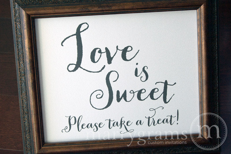 Love is Sweet, Please Take a Treat Sign Thick Style
