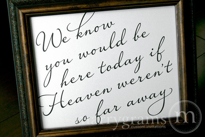 You Would Be Here Today Wedding Memorial Sign Diagonal Style