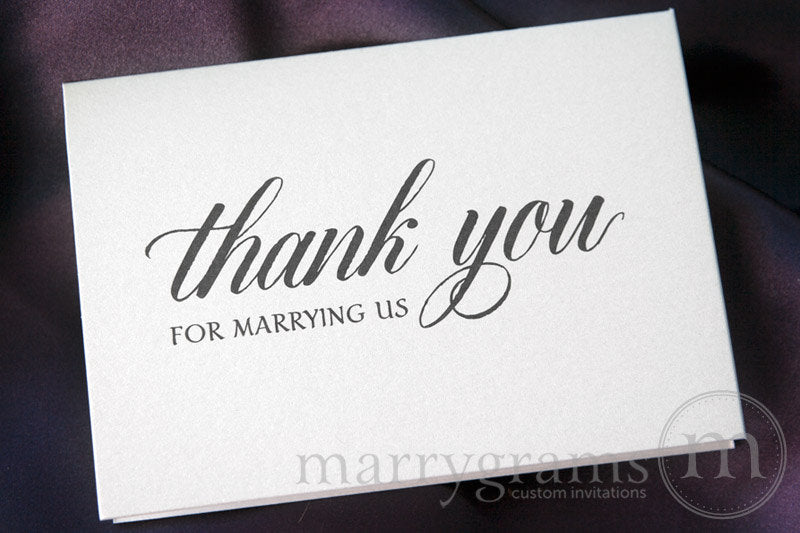 Thank You for Marrying Us Officiant Card Calligraphy Style