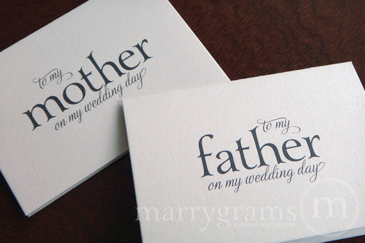 To My Family mother and father Wedding Day Card Serif Style