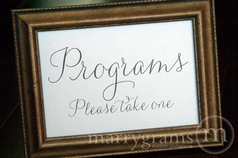 Programs Wedding Table Sign Thin Style