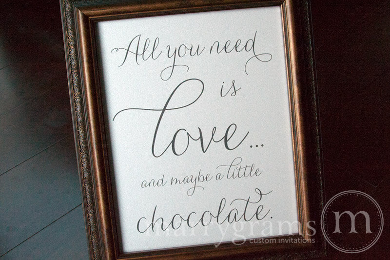 All You Need Is Love Candy Buffet Sign Thin Style Classic Wedding