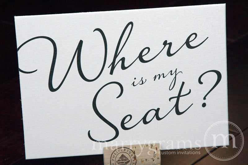 Where is My Seat Wedding Seating Sign Diagonal Style