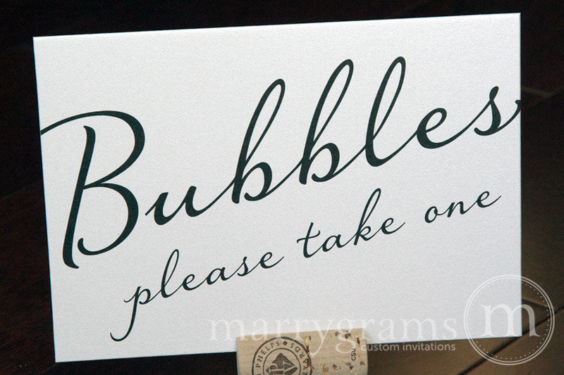 Wedding Bubbles Send Off Sign Diagonal Style