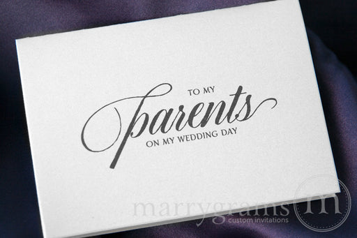 To My Family parents Wedding Day Card Calligraphy Style
