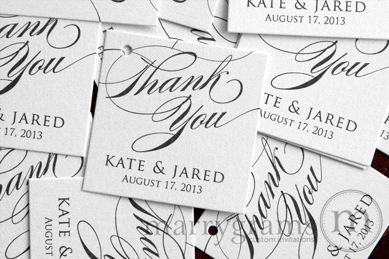 Thank You Custom Name and Date Wedding Favor Tag