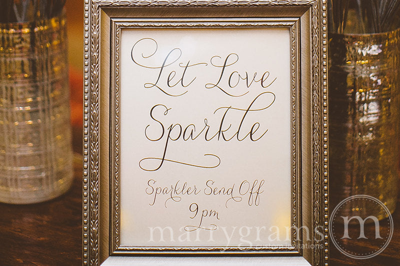 Let Love Sparkle Custom Sparkler Send Off Sign Thin Style