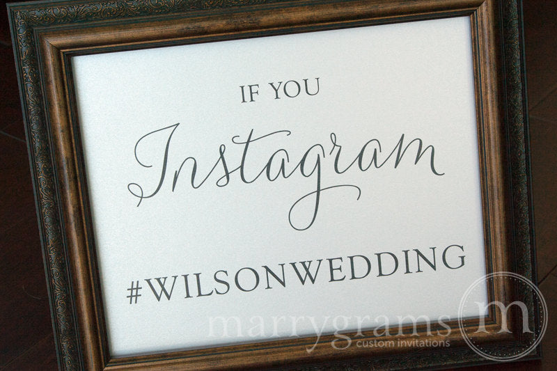 Instagram Hashtag Custom Wedding Sign Thin Style