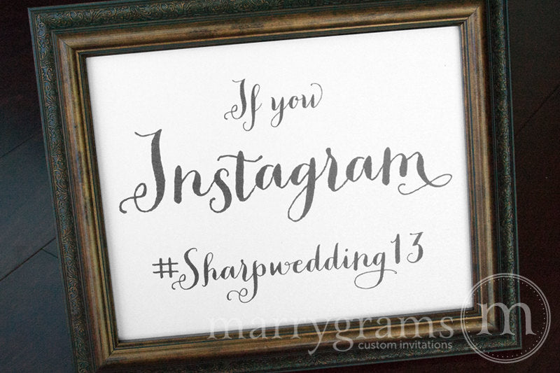 Instagram Hashtag Custom Wedding Sign Thick Style