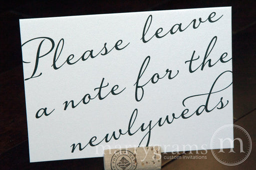 Note for the Newlyweds Well Wishes Sign Diagonal Style