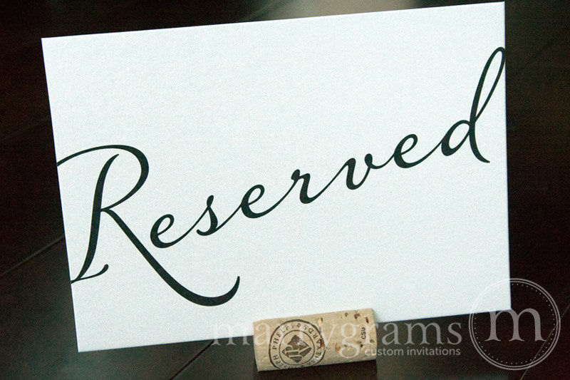 Reserved Wedding Table Seating Sign Diagonal Style