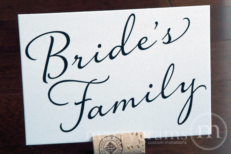 Bride's and Groom's Family Wedding Signs Diagonal Style