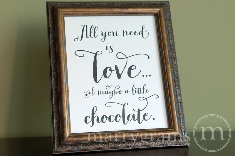 All You Need Is Love Candy Buffet Sign Thick Style