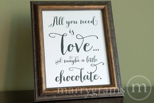 All You Need Is Love Candy Buffet Sign Thick Style Rustic Wedding