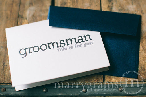 Groomsman This Is For You Wedding Day Card Block Style