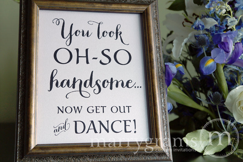 Oh-So Handsome Men's Restroom Wedding Sign Thick Style