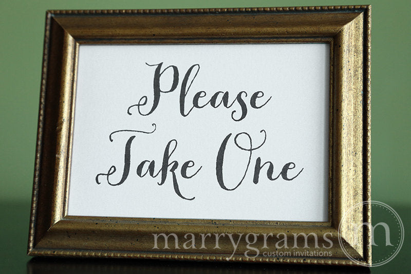 Please Take One Wedding Sign Thick Style