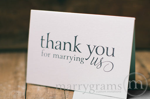 Thank You For Marrying Us Officiant Card Serif Style