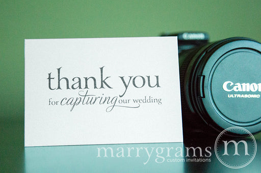 Thank You For Capturing Wedding Photographer Card Serif Style