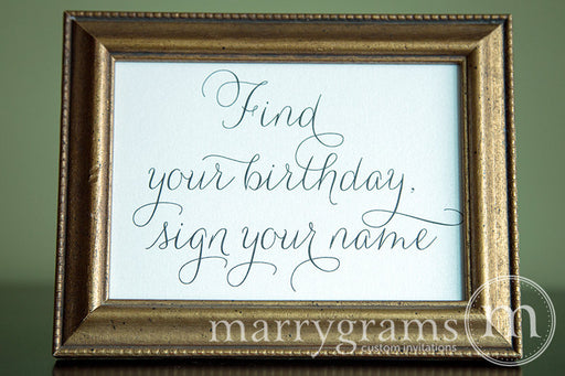 Find Your Birthday Calendar Guest Book Sign Thin Style