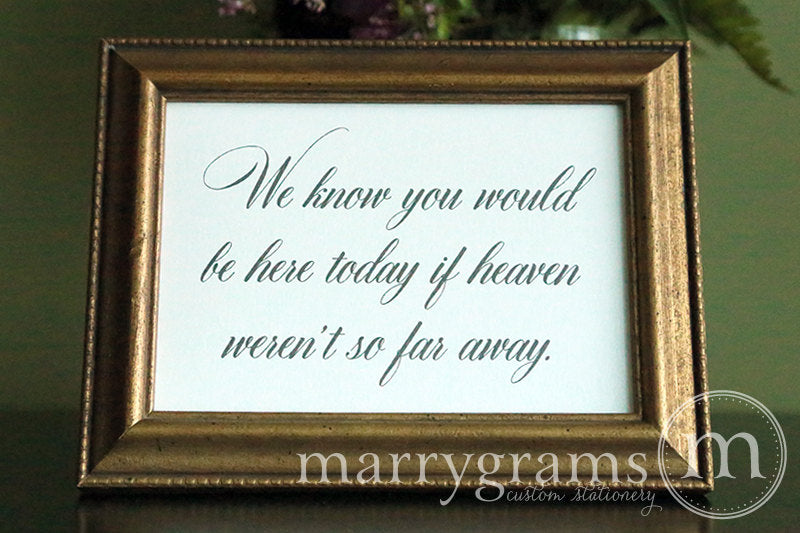 You Would Be Here Today Wedding Memorial Sign Calligraphy Style