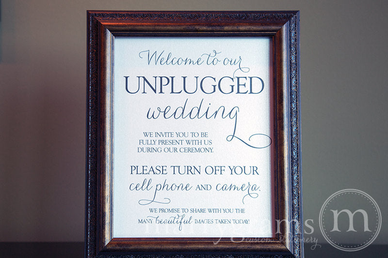 Welcome to Our Unplugged Wedding Sign Thin Style