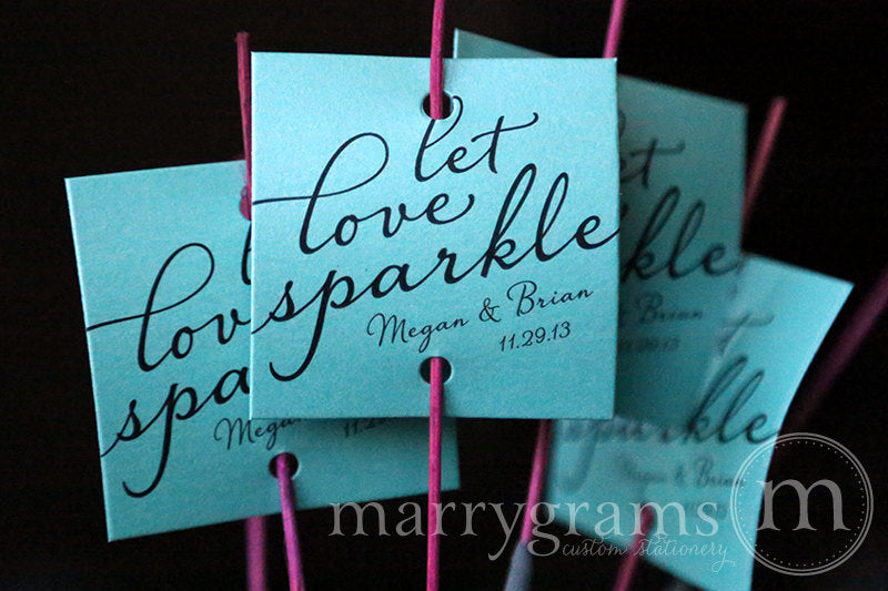 Let Love Sparkle Wedding Sparkler Tags Diagonal Style