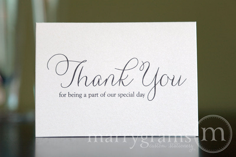 Our Special Day Wedding Vendor Thank You Card Thin Style